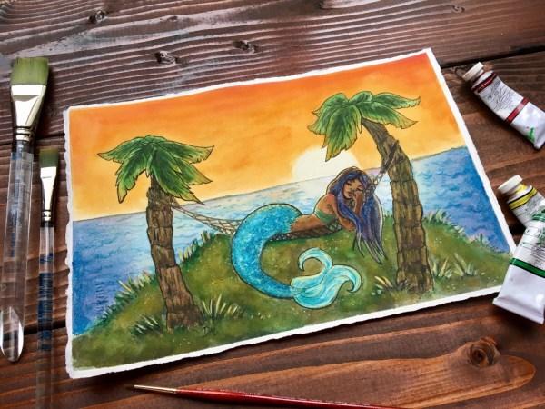 Mermaid Decor Tropical Wall Art Palm Tree