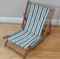 Vintage Wood Canvas Beach Chair Folding Slingback Green