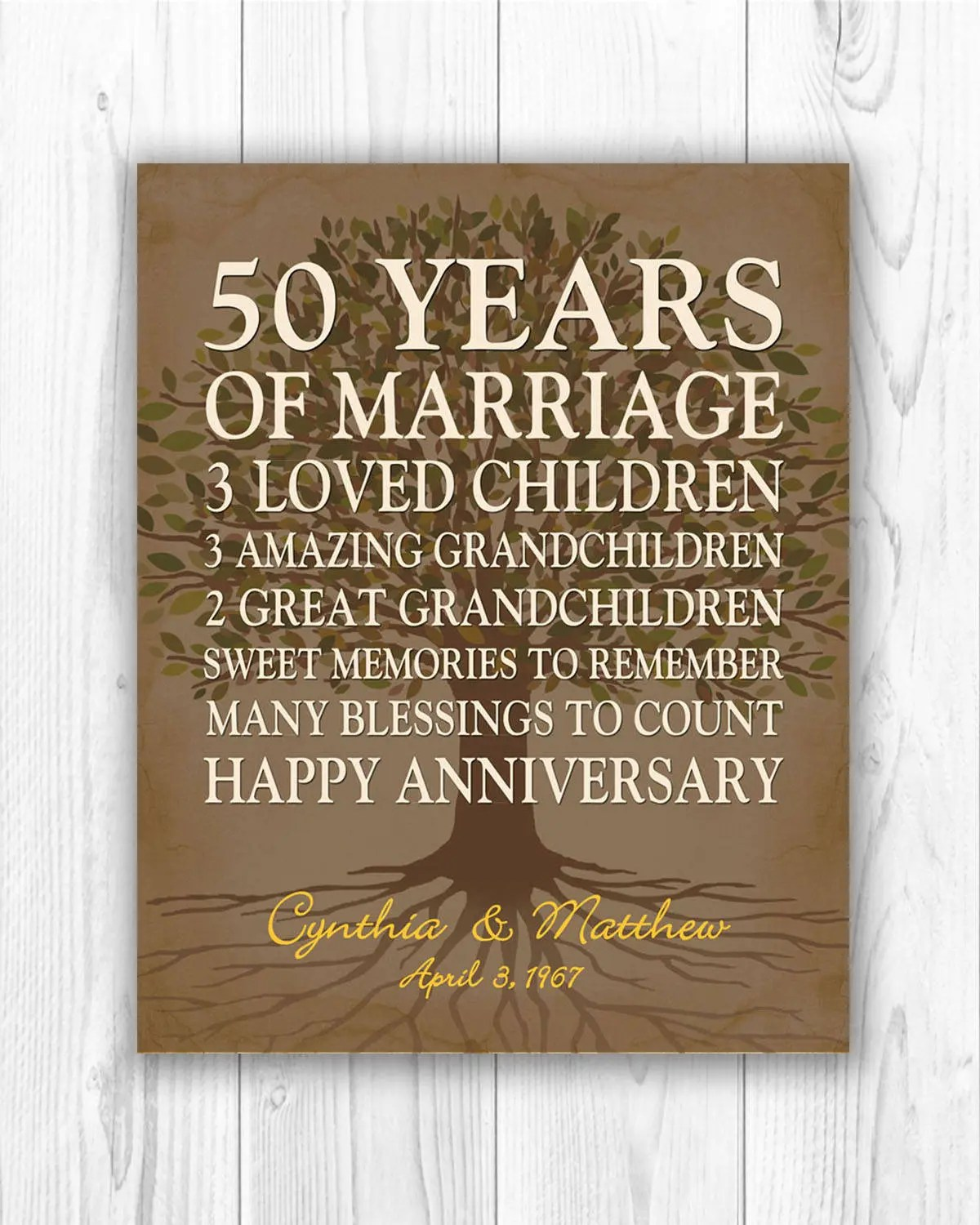 50th anniversary gift for parents anniversary gift golden