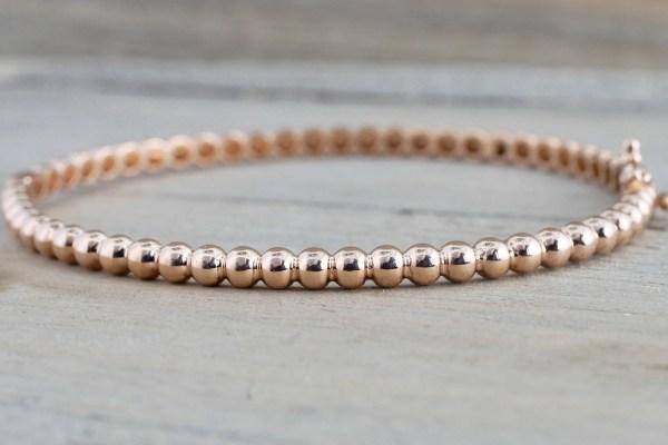 14k Solid Rose Gold Thick Bead Dot Charm Bracelet Dainty Love