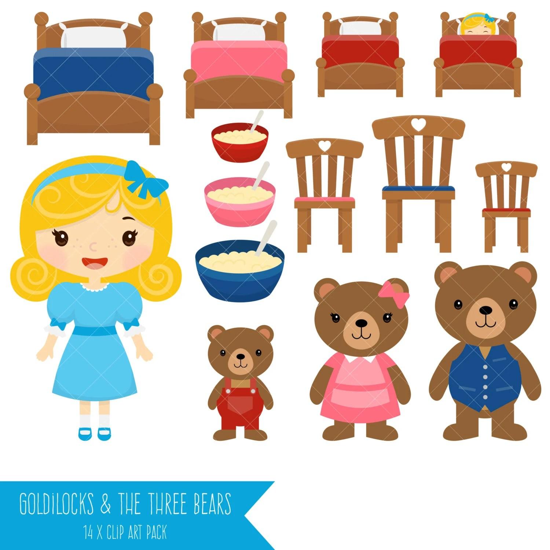 Goldilocks And The Three Bears Clipart From Clipartisan On Etsy Studio
