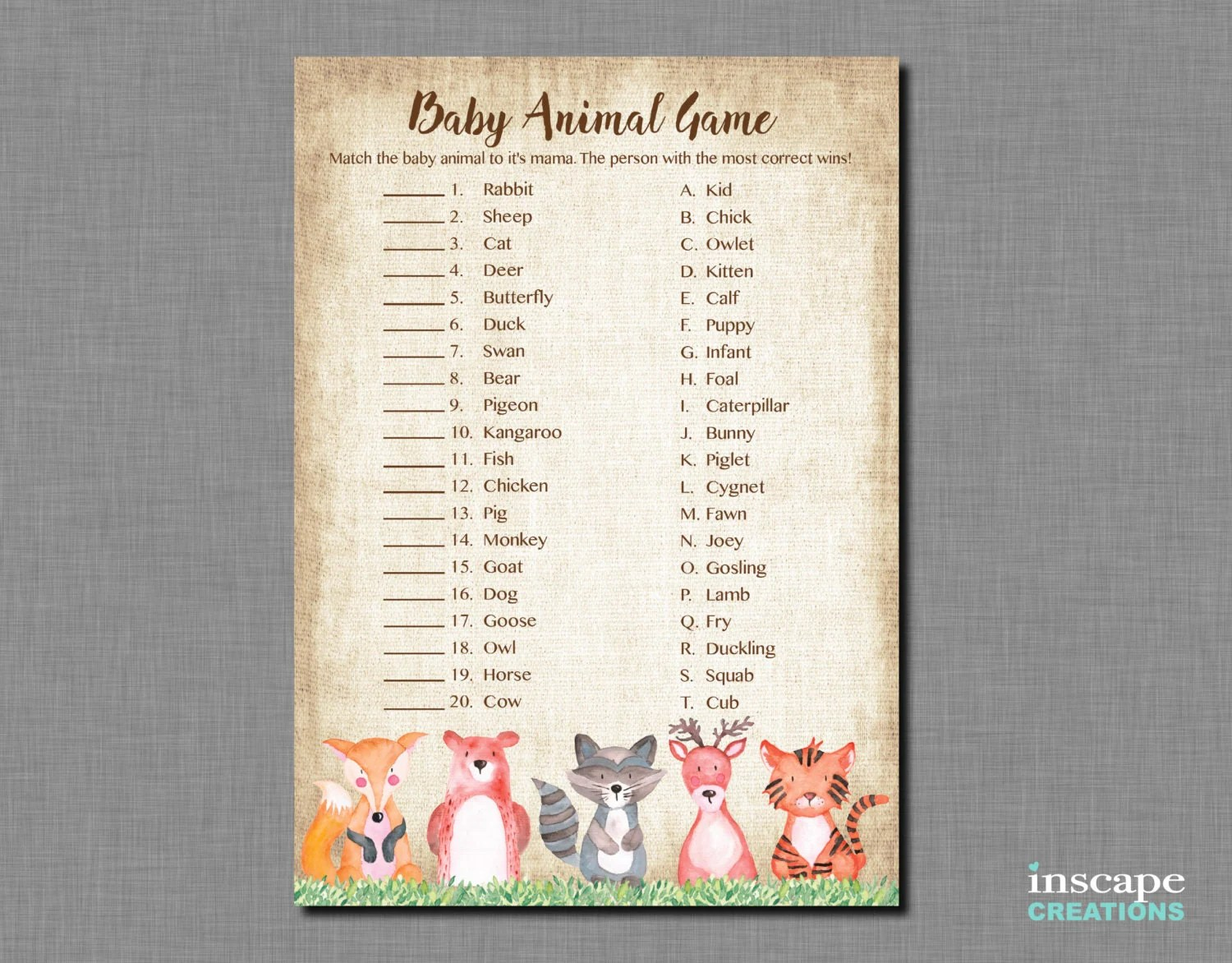 Woodland Baby Animal Name Game Printable Rustic Country Forest