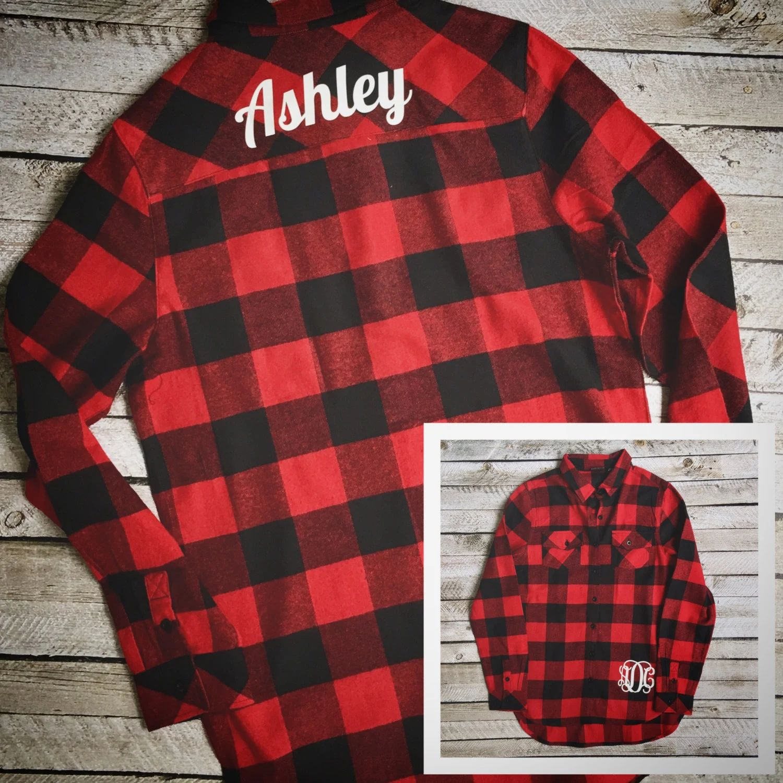 monogrammed flannel shirts