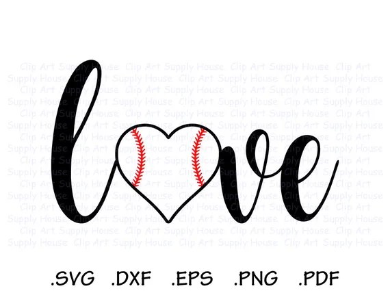 Download I Love Baseball Baseball Heart Baseball Love SVG Design