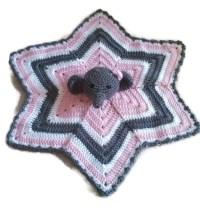 Crochet Baby Girl Elephant Lovey Blanket Security Blanket