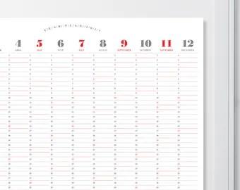 2017 Wall Calendar A1A2A3 Size / Printable Calendar / 2017