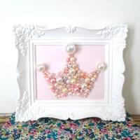 Pearl Princess Crown Art. Mosaic Wall Art. Blush by