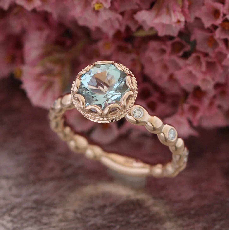 Floral Aquamarine Engagement Ring In 14k Rose Gold Pebble