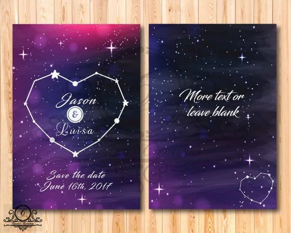 Galaxy Invitation Written In The Stars Template Editable