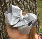 xl silver hair bow big