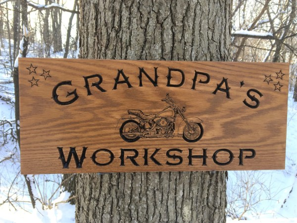 Grandpa' Workshop Custom Wood Sign With Motorcycle