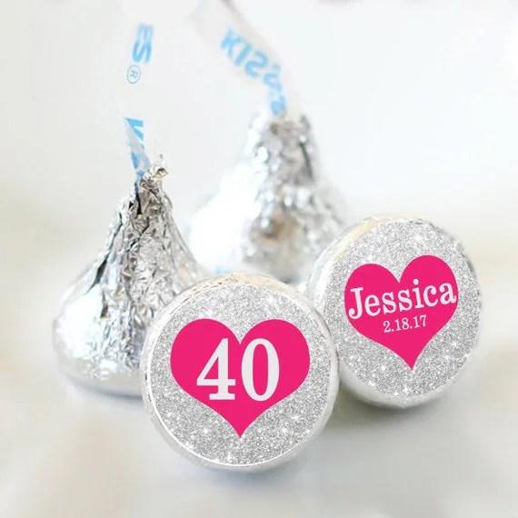 108 Hershey Kiss Stickers Silver Heart Hershey Kiss