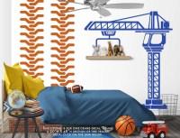 Construction Crane Vinyl Wall Decal Boys Bedroom Wall Decal