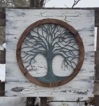 Reclaimed wood Tree of life Wall Art Metal Wall Art Metal