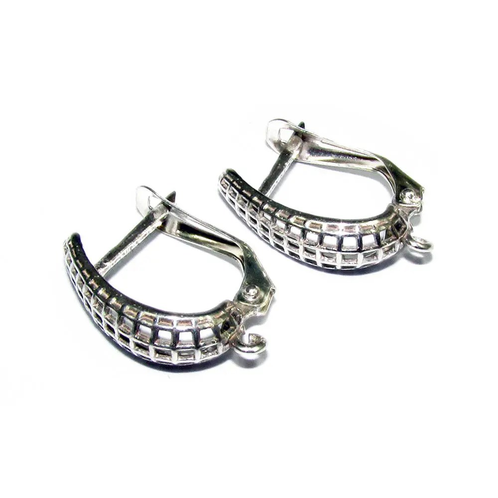 925 sterling silver Click-in leverback earring with loop