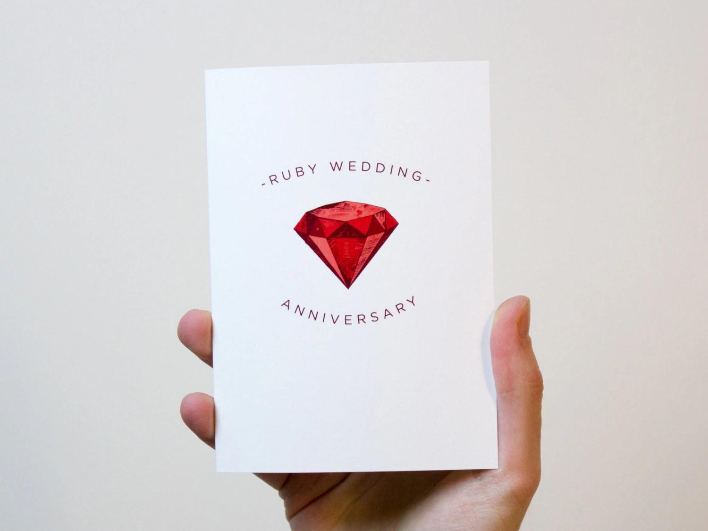 Ruby Wedding Anniversary Card 40 Year Wedding Anniversary
