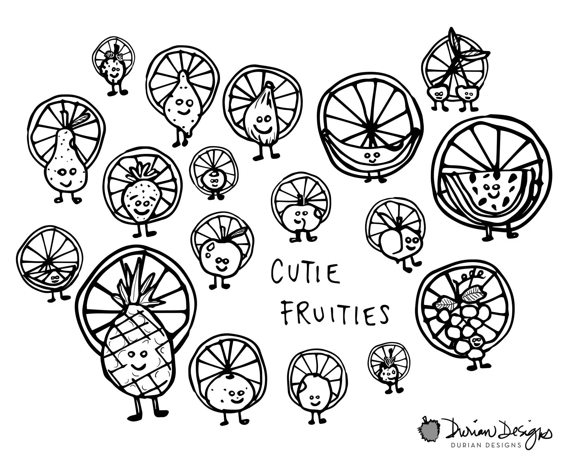 Cute Fruits Smiley Face Clipart Commercial Use B Amp W