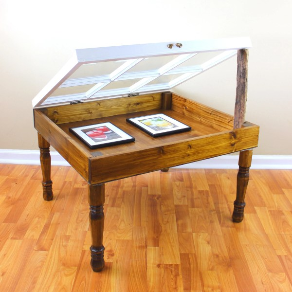 Shadow Box Table 6 Pane Window Coffee