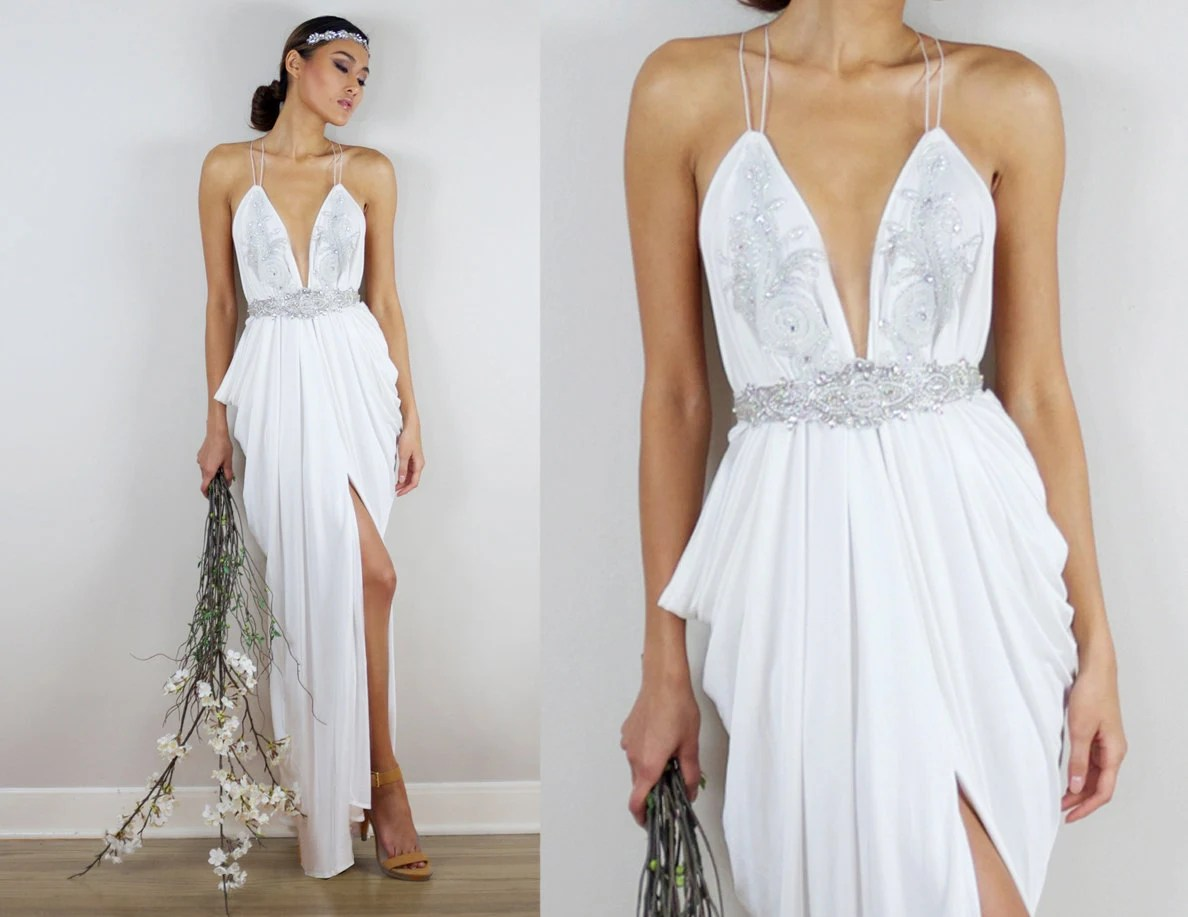Beaded Wedding Dress Grecian Wedding Dress Ivory Wedding