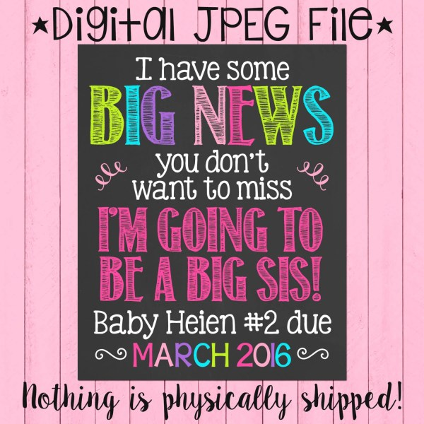 Big Sister Pregnancy Announcement Chalkboard Poster Sis