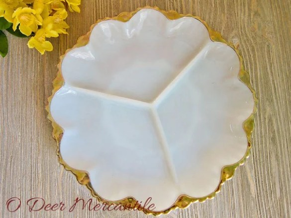 Anchor Hocking Fire King Divided Relish/Snack Tray: Mid Century Milk Glass Serving Dish with Gold Trim