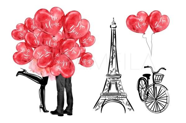 paris clipart valentines