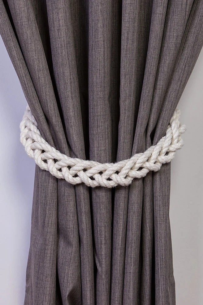 Chunky White Cotton Rope Braided Curtain Tie Backs  nautical