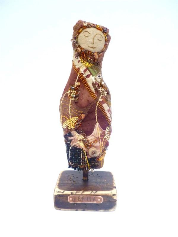 Benita Soft Sculpture Fiber Art Hand Stitched Embroidery
