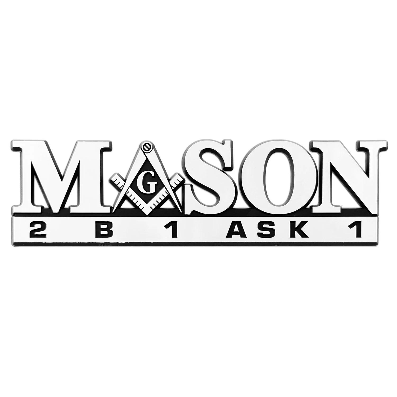 Mason 2B1 ASK1 Chrome Car Auto Emblem 9 Wide x 2