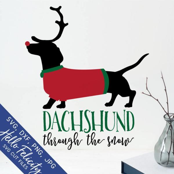 christmas svg dachshund