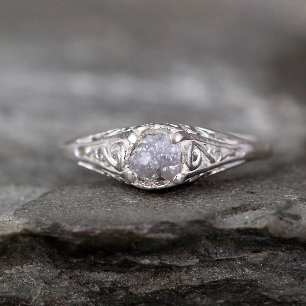 Antique Style Raw Diamond Engagement Ring Rough Uncut Rough