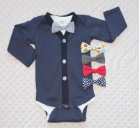 Baby Boy Cardigan and Bow Tie Set Navy Blue Baby Suit Baby