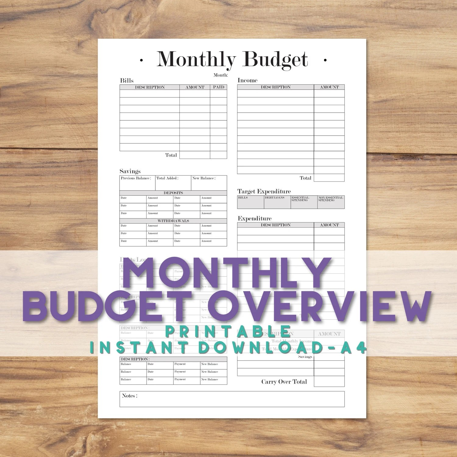 Printable A4 Monthly Budget Tracker A4 Budget Planner Sheet