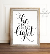 Be the light PRINTABLE art Motivational wall by TheCrownPrints