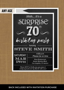 Invitations 70th Surprise Birthday Party Ideas