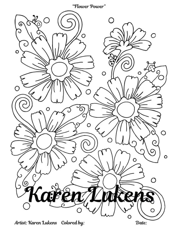 Flower Power 1 Adult Coloring Book Page Instant Download