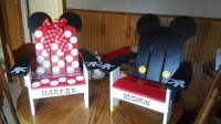Mickey and Minnie Mouse Adirondack Chairs hand painted for