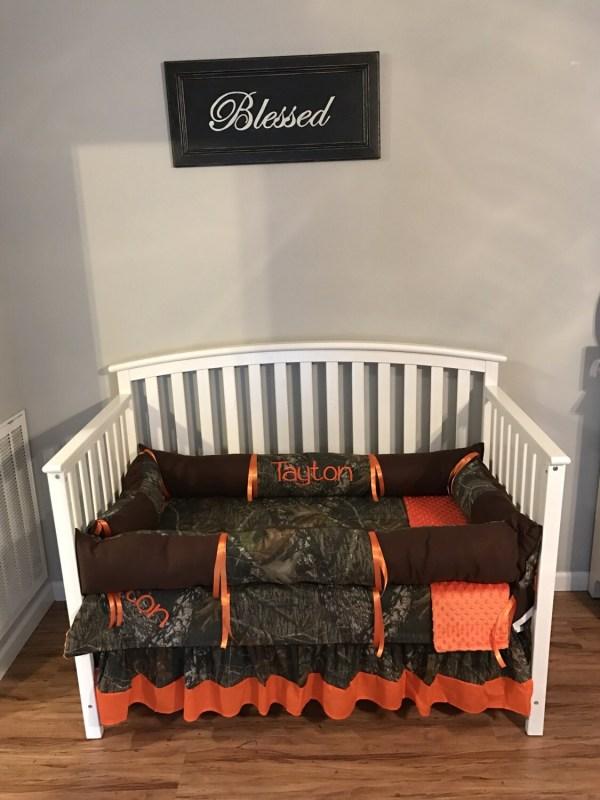 Camo Mossy Oak Fabric And Brown Orange 4 Pc Crib Bedding