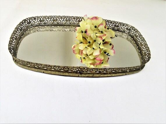Vintage Perfume Tray Mirrored Vanity Tray Gold Filigree