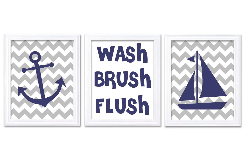 Nautical Nursery Art Bathroom Wash Brush Flush Set Of 3