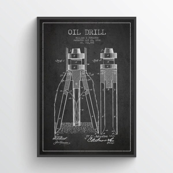 1902 Oil Drill Patent Wall Art Poster Texas