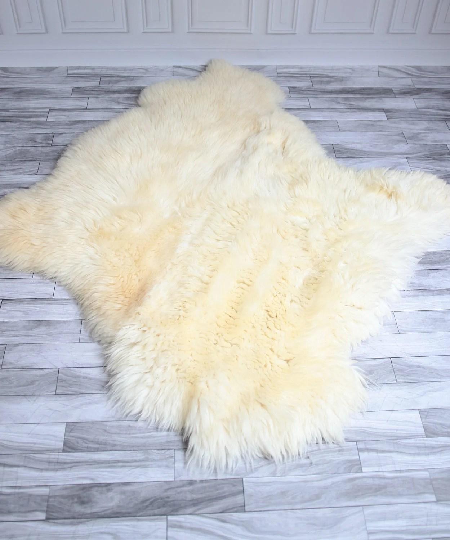 sheepskin rug on chair dog eating sale double shaggy cover