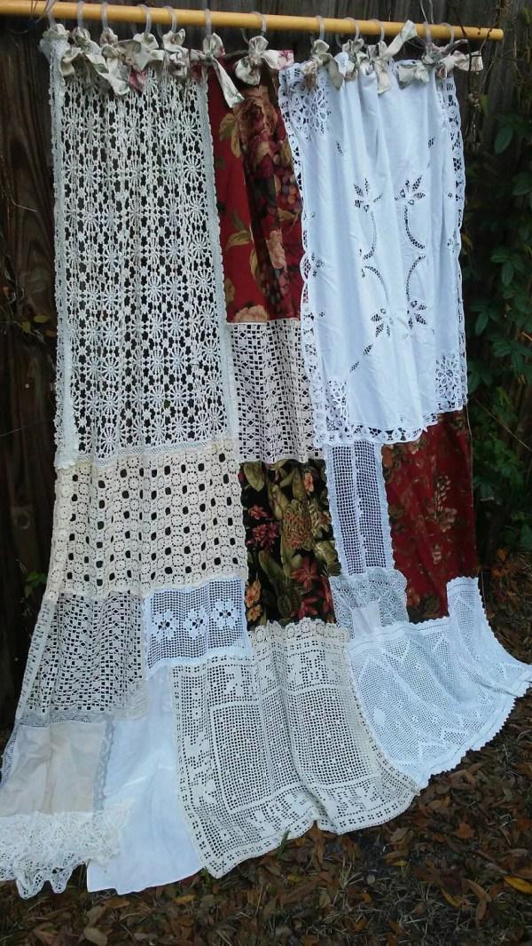 Boho Shower Curtain Vintage Crochet Linen Floral