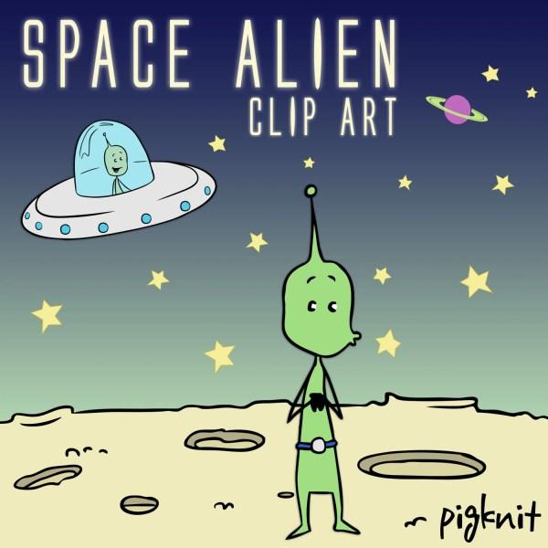 Space Alien Clip Art Ufo Character Green