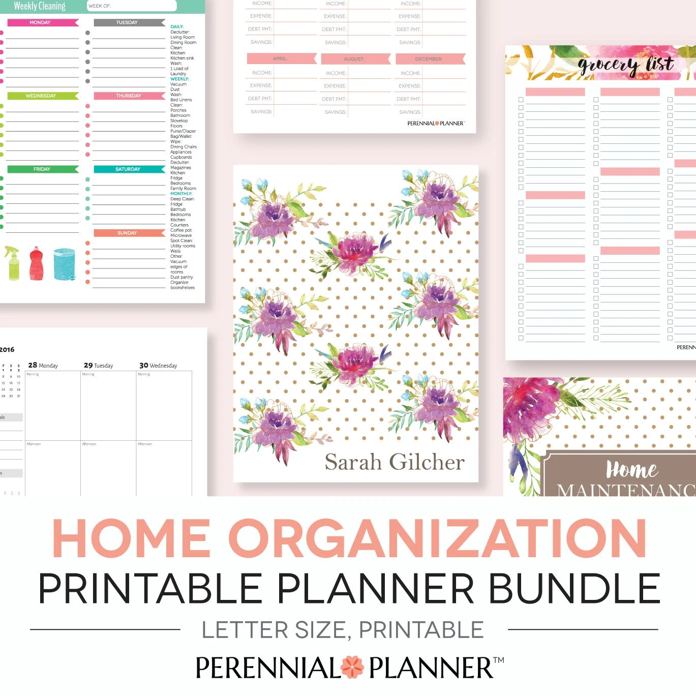 Home Management Binder Printables Planner Editable Letter