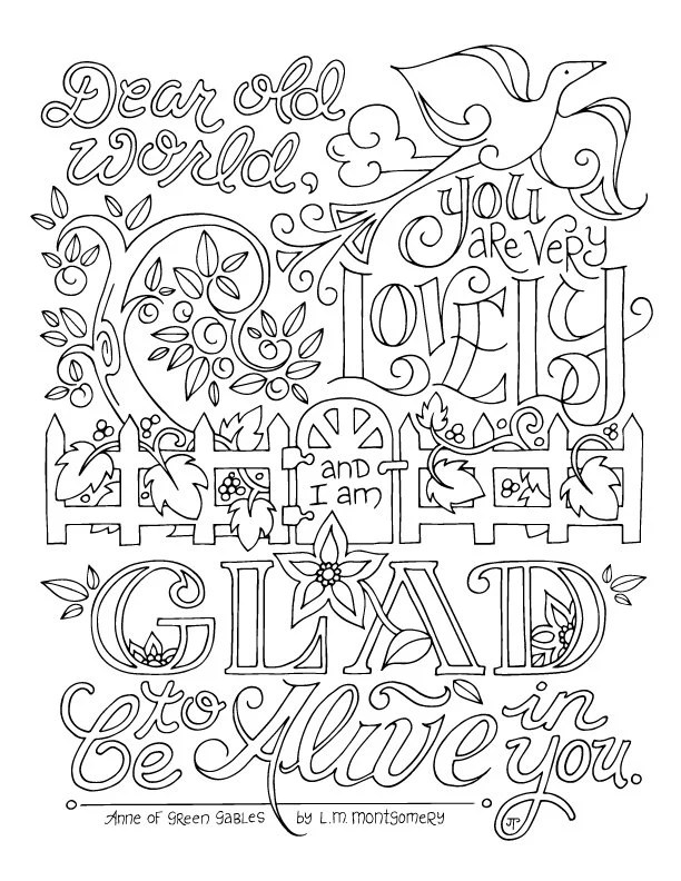 Anne of Green Gables Coloring Page / LM Montgomery / Quotes