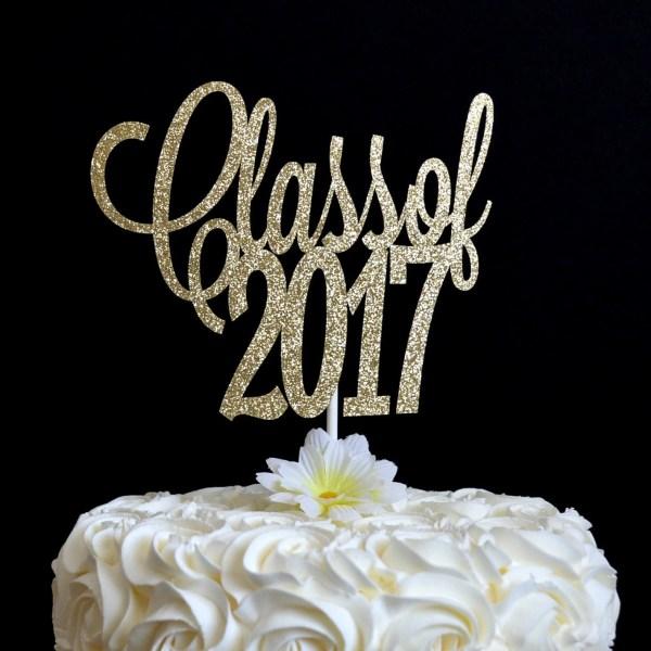 Class Of 2017 Glitter Cake Topper Graduation