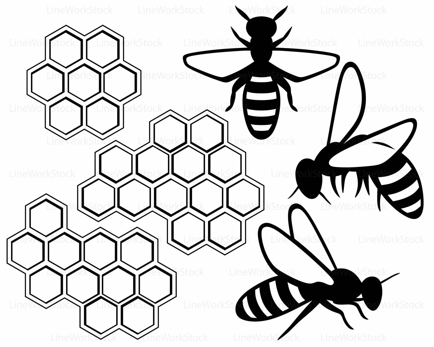 Bees Svg Bees Knees Clipart Honey Svg Honeycomb Silhouette