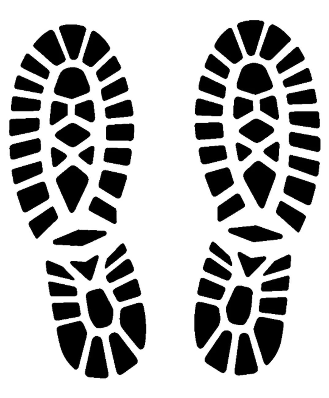 Footprints stencil art shoes 5 stencils sizes svg dwg dxf