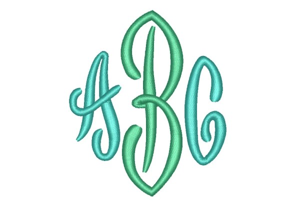 3 Size End Scroll Monogram Embroidery Fonts BX Instant